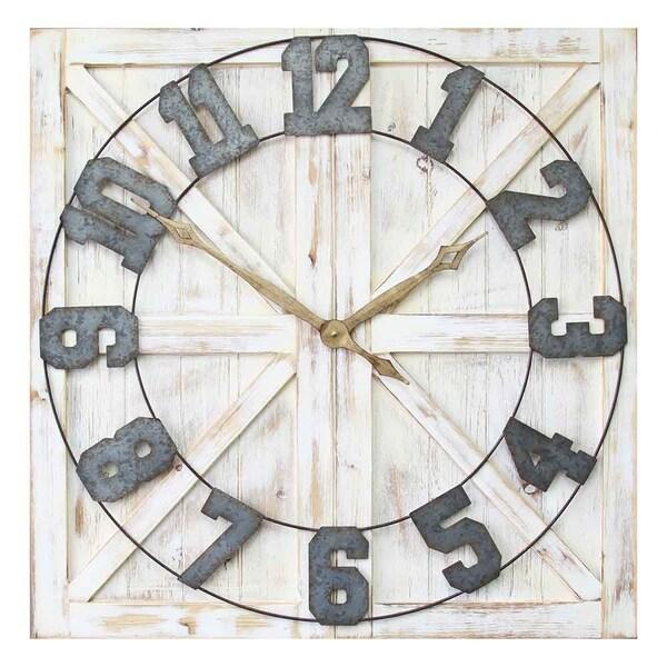 Stratton Home Decor Rustic Farmhouse Wall Clock