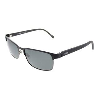 Fossil Rectangle 3000/P/S EF8P Y2 Unisex Matte Black Ruthenium Frame Grey Polarized Lens Sunglasses