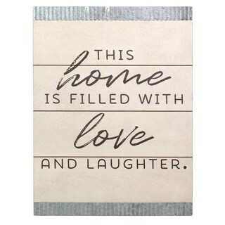 Stratton Home Decor This home is filled with love Wood and Galvanized Wall Art - Silver/White