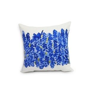 Flower Bell Bunch  20 inch Blue Decorative Floral Throw Pillow