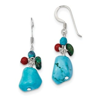 Versil Sterling Silver Dyed Howlite/Turquoise/Red Coral Earrings