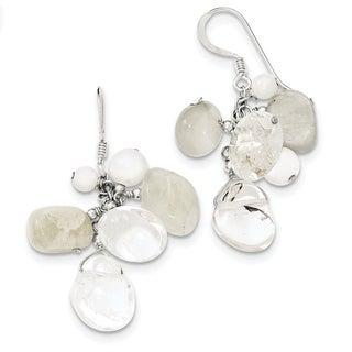 Versil Sterling Silver Jade/Mother Of Pearl/Moonstone/Rock Quartz Earrings