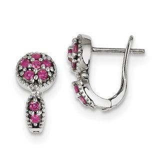Versil Sterling Silver Rhodium-plated Pink Tourmaline Hinged Earrings