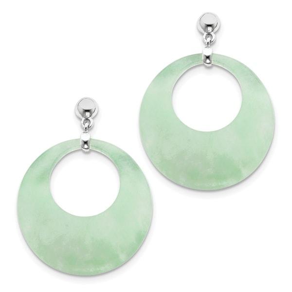 Versil Sterling Silver Rhodium Plated Jade Circle Dangle Post Earrings