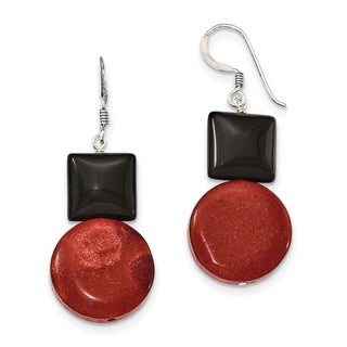 Versil Sterling Silver Black Agate And Reconstituted Red Coral Earrings