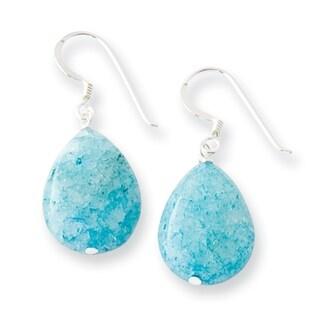 Versil Sterling Silver Small Crack Aventurine Turquoise Tear Drop Earrings