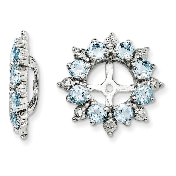 Sterling Silver Rhodium Diam /& Aquamarine Earring Jacket