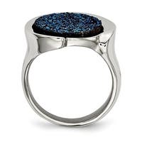 Versil Stainless Steel Polished with Blue Druzy Stone Ring