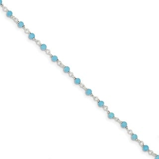 Versil Sterling Silver Genuine Turquoise Bead Polished Bracelet