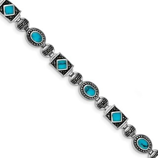 Versil Sterling Silver Rhodium-plated Synth Turquoise And Marcasite Bracelet