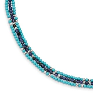 Versil Sterling Silver Iolite/Lapis Quartz/Reconstructed Turquoise 3-Strand With 1-inch Ext. Bracelet