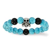 Versil Stainless Steel Antiqued Skull With Imitation Turquoise/Black Onyx Bracelet