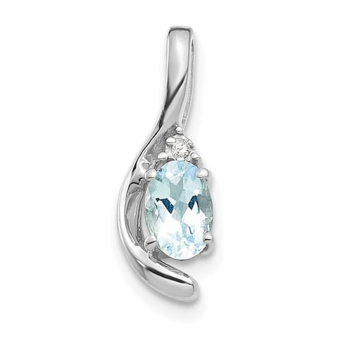 14K White Gold Aquamarine Diamond Pendant with 18-inch Cable Rope Chain by Versil