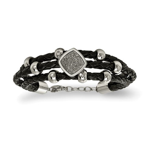 Versil Stainless Steel Polished With Druzy And Crystal Leather With .75-inch Ext. Bracelet