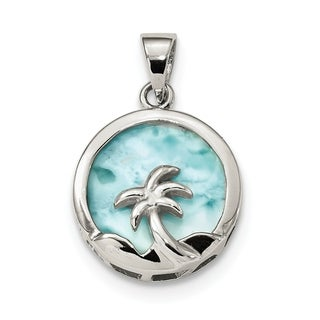 Versil Sterling Silver Rhodium-plated Larimar With Palm Tree Pendant With 18-inch Chain