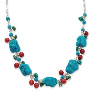Versil Sterling Silver Dyed Howlite/Turquoise/Red Coral Necklace