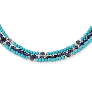 Versil Sterling Silver Iolite/Lapis Quartz/Recon. Turquoise 3-Strand With 2-inch ext. Necklace