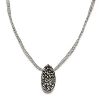 Versil Stainless Steel Druzy Agate Polyester Cord Necklace
