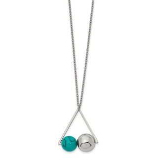 Versil Stainless Steel Polished Triangle w/Imit.Turquoise With 2-inch ext. Necklace