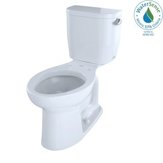 Toto Entrada Two-Piece Elongated 1.28 GPF Universal Height Toilet with Right-Hand Trip Lever, Cotton White (CST244EFR#01)