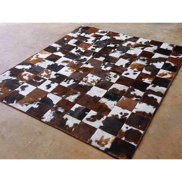 Tricolor Cowhide Patchwork Rug 10 X 8 Ft N A Free
