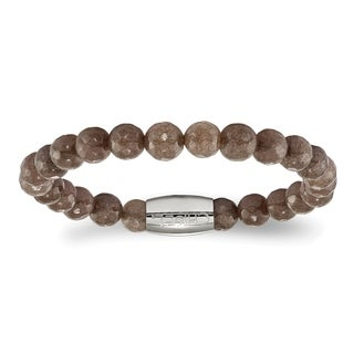 Versil Stainless Steel Polished Brown Jade Bead Stretch Bracelet