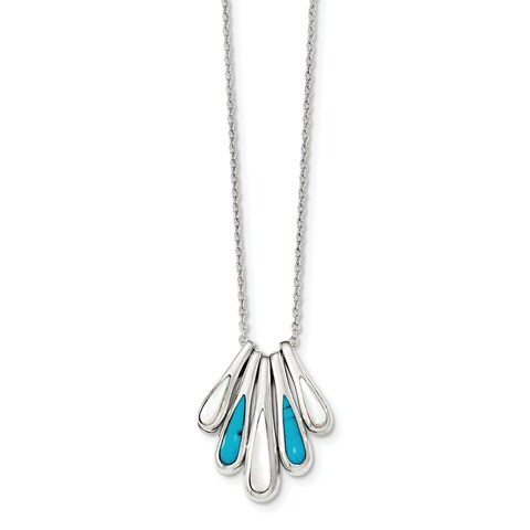 Versil Sterling Silver Polished White Mother of Pearl and Stabilized Turquoise Inlay 5 Pendant