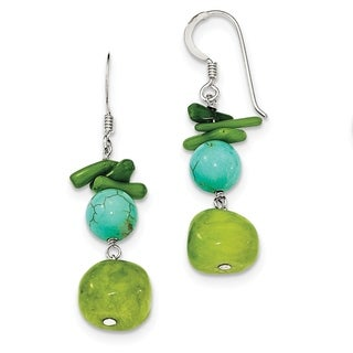 Versil Sterling Silver Jade/Green Coral/Dyed Howlite Earrings