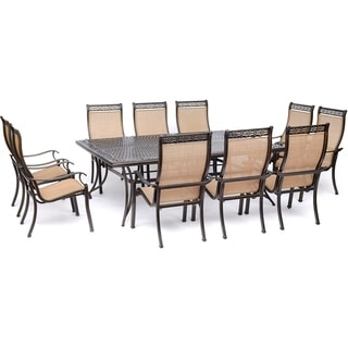 "Hanover Manor 11-Piece Dining Set with 10 Sling Chairs and an Extra-Large 60"" x 84"" Cast-Top Dining Table"