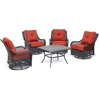 """Orleans 5-Piece Patio Chat Set in Autumn Berry with 4 Swivel Rockers and a 32"""" x 38"""" Cast-Top Coffee Table"""