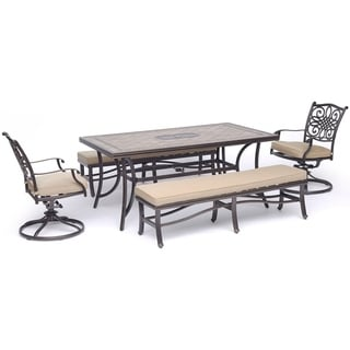 """Hanover Monaco 5-Piece Dining Set in Tan with 2 Swivel Rockers, 2 Cushioned Benches, and a 40"""" x 68"""" Tile-Top Table"""