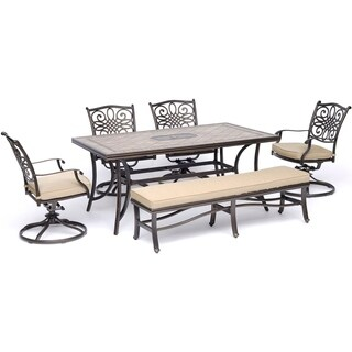 "Hanover Monaco 6-Piece Dining Set in Tan with Four Swivel Rockers, a Cushioned Bench, and a 40"" x 68"" Tile-Top Table"