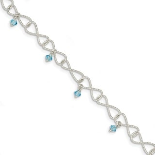 Versil Sterling Silver Textured Aquamarine Colored Glass Bead Bracelet