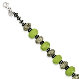 Versil Sterling Silver Green Jade, Serpentine And Hematite With 1-inch Ext Bracelet