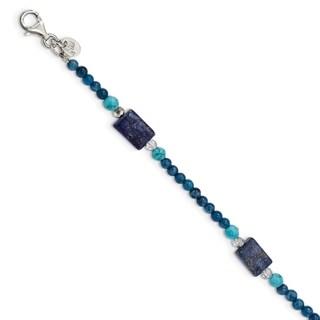 Versil Sterling Silver Crystal/Iolite/Lapis/Blue Quartz/Reconstructed Blue Magnesite With 1-inch Ext. Bracelet