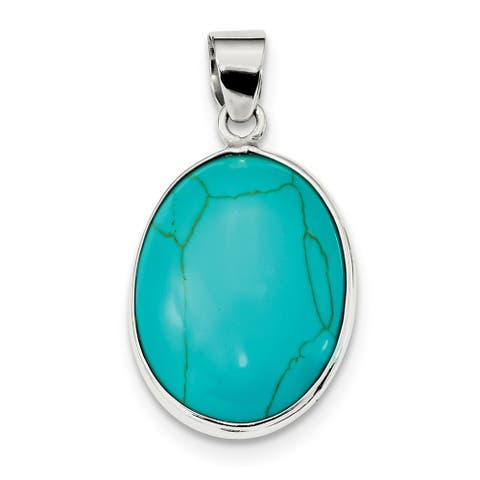 Sterling Silver Polished Oval Turquoise Pendant with 18-inch Cable Chain by Versil