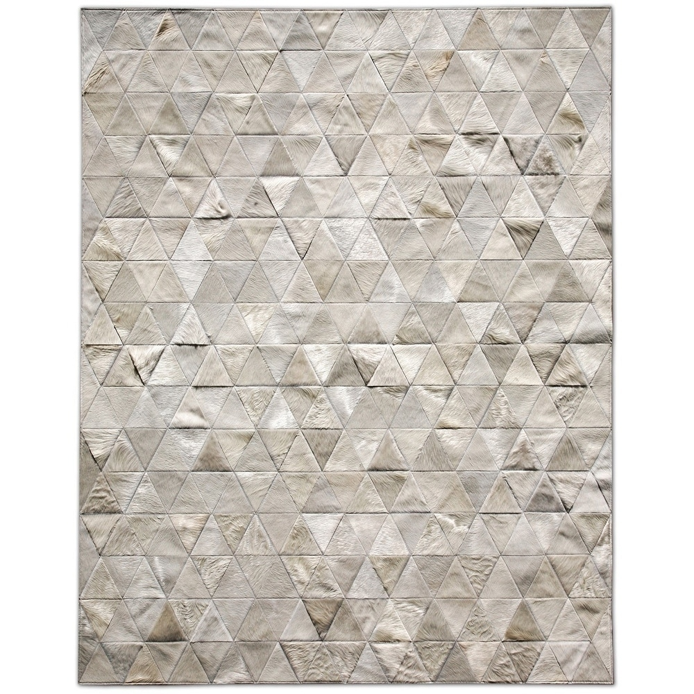 Pyramid White Cowhide Patchwork Rug
