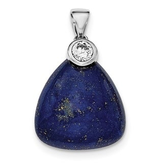 Versil Sterling Silver Rhodium Plated With CZ And Lapis Lazuli Pendant With 18 Inch Chain