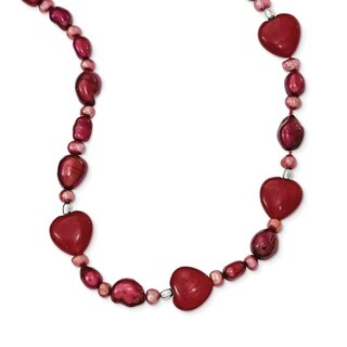 Versil Sterling Silver Red Jade Hearts/Freshwater Cultured Pearl Necklace