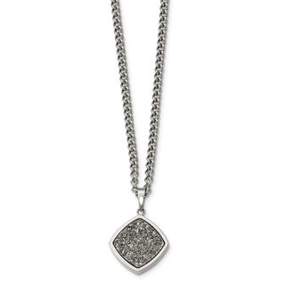 Versil Stainless Steel Polished with Silver Druzy Necklace