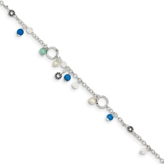 Versil Sterling Silver Turquoise/Clear Bead/Freshwater Cultured Pearl Anklet Blt