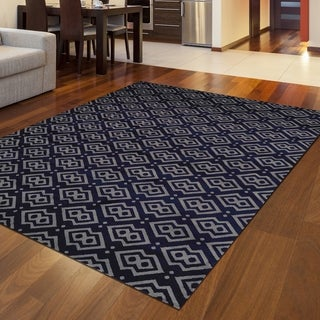 """Bronte Disc Navy Area Rug By Admire Home Living - 7'10"""" x 10'6"""""""