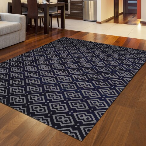 Bronte Disc Navy Area Rug By Admire Home Living - 7'6 x 10'6