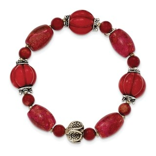 Versil Sterling Silver Antiqued Beads And Red Coral Stretch Bracelet