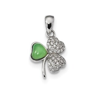 Versil Sterling Silver Rhodium-plated Polished CZ and Green Jade Clover Pendant With 18-inch Chain