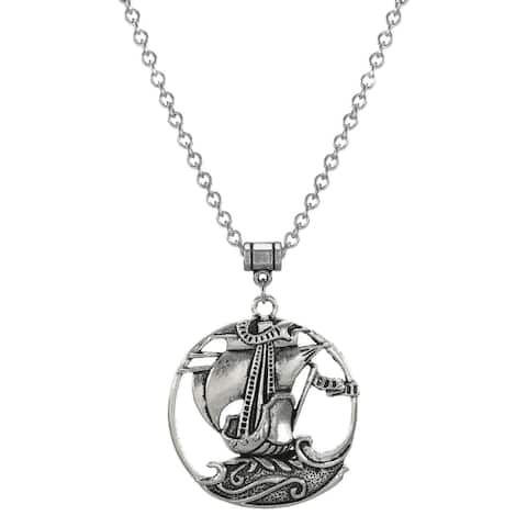 Handmade Jewelry by Dawn Unisex Pewter Sailing Ship Stainless Steel Chain Necklace (USA)