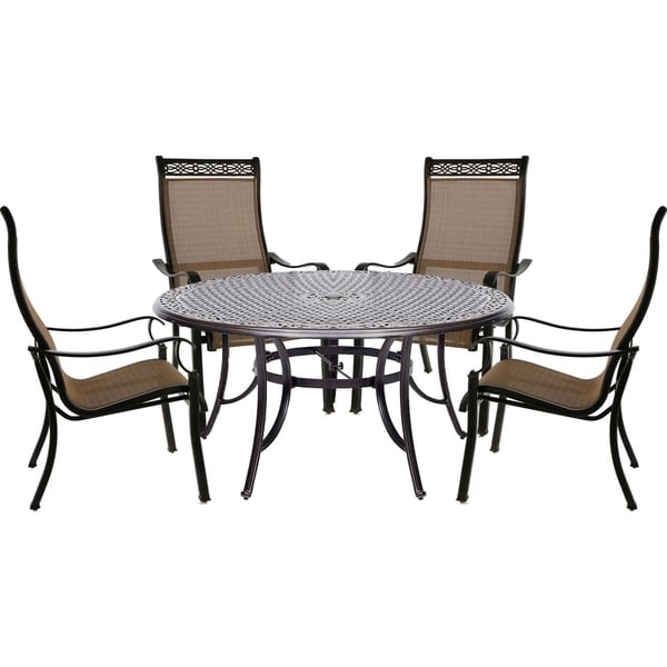 Hanover Manor 5-Piece Outdoor Dining Set with a Large 60 In. Table and Four Contoured Dining Chairs
