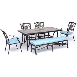 """Hanover Monaco 6-Piece Dining Set in Blue with Four Dining Chairs, a Cushioned Bench, and a 40"""" x 68"""" Tile-Top Table"""