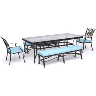 "Hanover Traditions 5-Piece Outdoor Dining Set in Blue with Two Dining Chairs, Two Benches, and a 42"" x 84"" Glass-top Table"