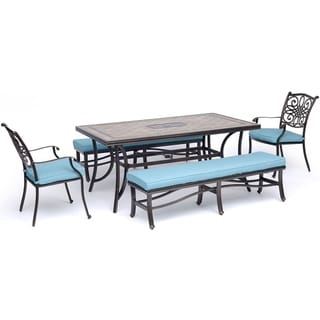 """Hanover Monaco 5-Piece Dining Set in Blue with 2 Dining Chairs, 2 Cushioned Benches, and a 40"""" x 68"""" Tile-Top Table"""